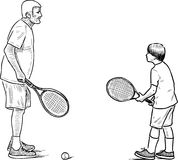 An elderly man playing tennis with his grandson. Vector drawing of a grandfather and his grandson playing tennis Royalty Free Stock Photos