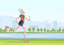 An elderly man practice Jogging outdoors. Active lifestyle and sport activities in old age. Vector illustration. Royalty Free Stock Images