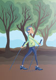An elderly man practicing nordic walking outdoors. Active lifestyle and sport activities in old age. Vector illustration Royalty Free Stock Photo