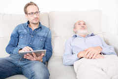 Elderly man at the psychoanalysis Royalty Free Stock Photos