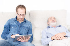 Elderly man at the psychologist Royalty Free Stock Photography