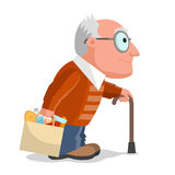 Elderly man and purchases Stock Images