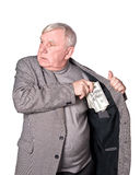Elderly man puts money Royalty Free Stock Photography