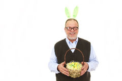 Elderly man with rabbit ears royalty free stock photography