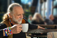 Elderly man in restaurant Royalty Free Stock Photo
