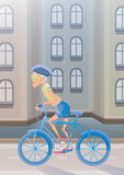 An elderly man riding a Bicycle on city street. Active lifestyle and sport activities in old age. Vector illustration. Stock Photography