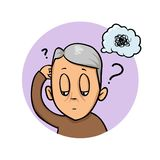 Elderly man scratching his head trying to remember or feeling confused. Confusion, memory loss. Flat design icon. Flat royalty free illustration