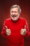 Elderly man showing ok sigh on a red background. Elderly man a red sweater showing ok sigh on a red  background Stock Photography