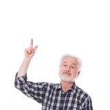 Elderly man shows on something Stock Photos