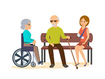 Elderly Man, Sits With Girl On Bench, Woman In Chair. Stock Photos