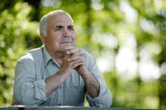 Elderly man sitting in the garden thinking Stock Photos