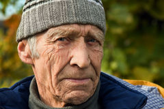 Elderly the man. Steadfast serious sight elderly men Royalty Free Stock Images