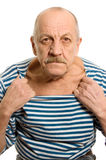 The elderly man in a stripped vest Royalty Free Stock Images