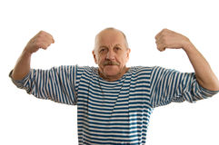 The elderly man in a stripped vest. On white Royalty Free Stock Photos