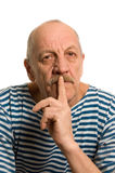 The elderly man in a stripped vest Stock Photos