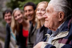 Elderly Man Telling Stories Royalty Free Stock Images