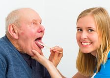 Elderly Man With Throat Pain Royalty Free Stock Photo