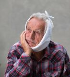 Elderly man with toothache stock photo