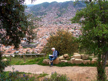 An elderly man traveling in Cuzco Stock Image