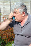 Elderly man using inhaler. An elderly man using an inhaler in the garden to aid his breathing Royalty Free Stock Photos
