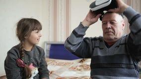 Elderly Man In Virtual Reality Headset stock video