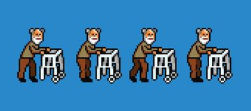 Elderly man with walker pixel art style walking cycle animation. Isolated stock illustration