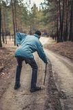 An elderly man walking along a road in a pine forest royalty free stock photo