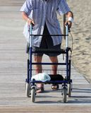 Elderly man walking with Walker on the beach Stock Image