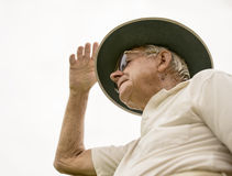 Elderly Man Wearing Bowling Hat. Stock Photos