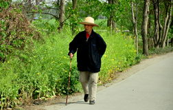 Pengzhou,China: Elderly Man Walking with Cane Stock Photos
