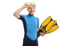 Elderly man in a wetsuit with snorkeling equipment. Isolated on white background Royalty Free Stock Images