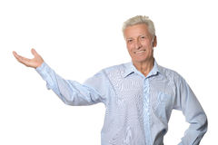 Elderly man on white background Royalty Free Stock Photography