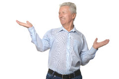 Elderly man on white background Stock Image