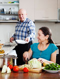 Elderly man and  woman  doing housework Royalty Free Stock Image