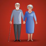 An elderly man and woman holding hands. The illustration shows the elderly: a man and a woman. They are holding hands. A man leans on a cane. The red background Royalty Free Stock Photography