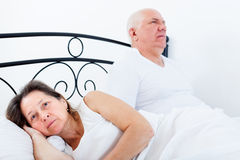 Elderly man and  woman sorting out their relationships Stock Images