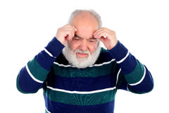 Elderly man with worried gesture Royalty Free Stock Photos
