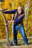 Elderly man's outdoor exercise Stock Photos
