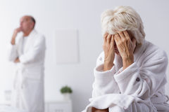 Elderly marriage thinking about divorce Stock Photo