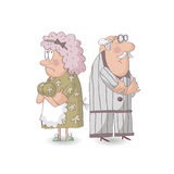 An elderly married couple quarrel. Stock Images