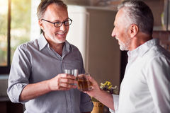 Elderly mates meeting up for a drink. Cheers Two male friend cheering with their glasses in the kitchen Stock Photo