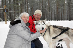 Man and woman cuddling up with Siberian Husky. Elderly / mature / senior gray-haired caucasian women / grandmother and Young men in red jacket snuggling / Royalty Free Stock Photo