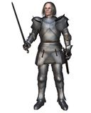Elderly Mediaeval Knight. In 15th century Milanese armour, 3d digitally rendered illustration Stock Photography