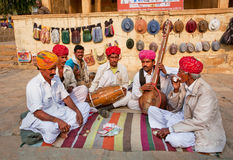 Elderly men in turbans ready to play traditional music Stock Image