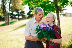 An elderly man of 80 years old gives flowers to his wife in a su stock image