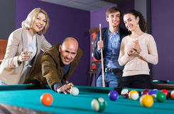 Elderly middle class people having pool game Stock Photo