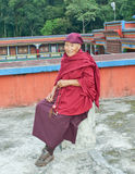 An elderly monk of Rumtek Monastery, near Gangtok,Sikkim, Royalty Free Stock Photo