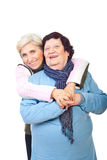 Elderly mother with senior daughter Stock Images
