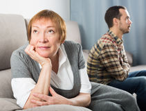 Elderly mother and son quarrel. With each other and find out relationship Royalty Free Stock Image