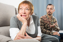 Elderly mother and son quarrel. And find out relationship Royalty Free Stock Photos